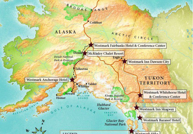 Alaska & Yukon Map with Westmark Hotels locations.