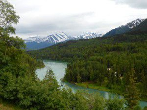 Photograph of mountains, trees and Kenai River in Kenai Peninsula, Kenai, Alaska