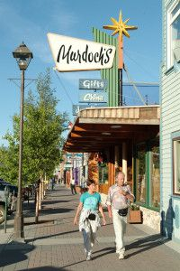People strolling the Main Street of Whitehorse, Yukon
