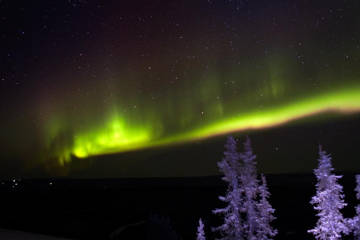 Aurora Borealis or Northern Lights in winter, Fairbanks, Alaska