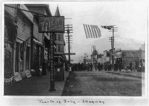 Streets of Skagway Alaska July 4th celebration early 1900's