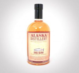 A bottle of smoked salmon flavored vodka.