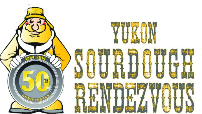 "Gold Panner holds ""50th"" Anniversary Gold Pan of the Yukon Sourdough Rendezvous, black and yellow, Westmark Hotels"