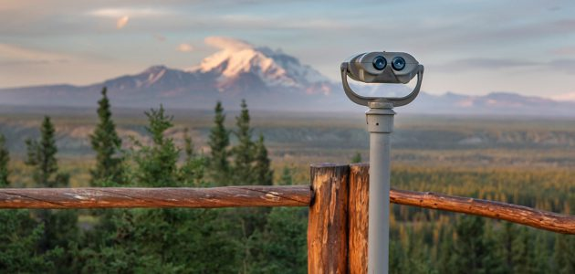 Binoculars at a scenic viewpoint