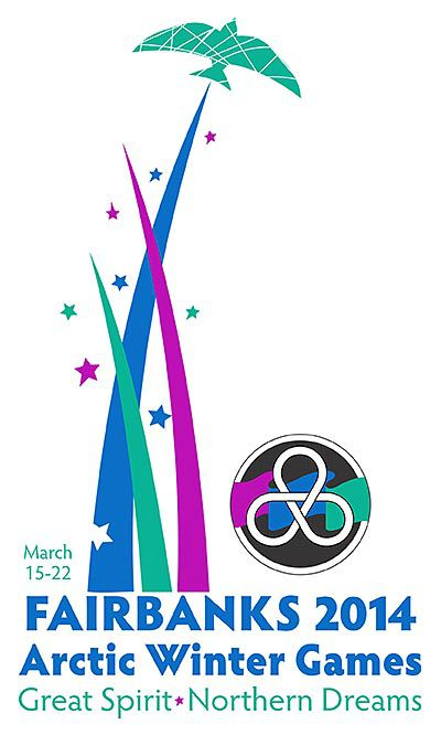 Arctic Winter Games 2014 Logo, black, pink, green and blue.